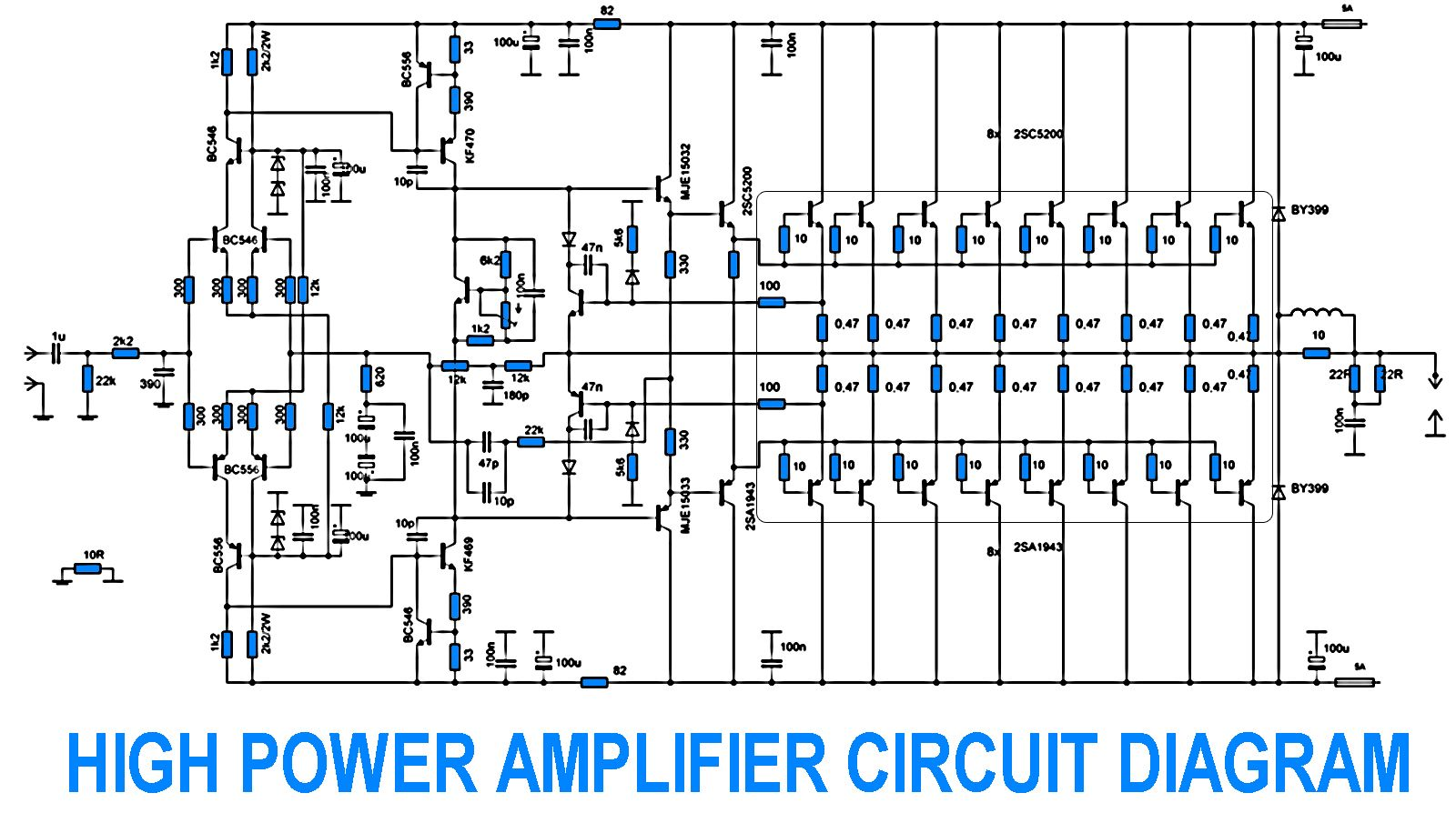 Amplifier Circuit Diagram Electrical Schematics 10w Using Tda2003 700w Power With 2sc5200 2sa1943 Other Projects Exciter