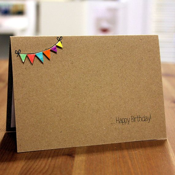 Personalised Happy Birthday Card, with Handmade Bright Birthday Bunting Embellishments