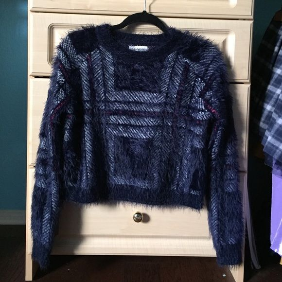 57e78374fd5e7 Cotton On Fuzzy Navy Blue Crop Sweater Super Soft! Love this but it s too  small