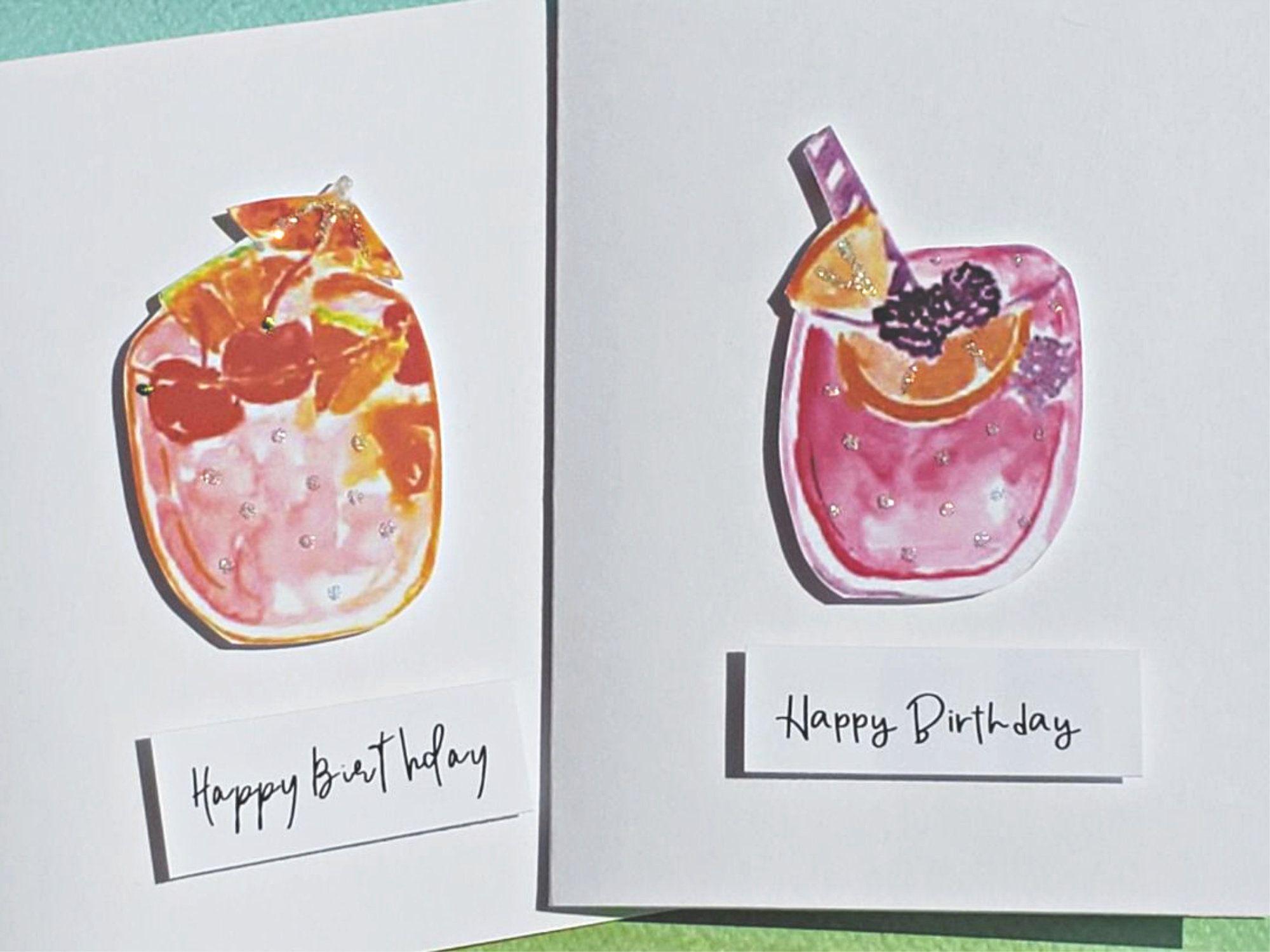 Cocktail birthday cards 2 cards best friend birthday