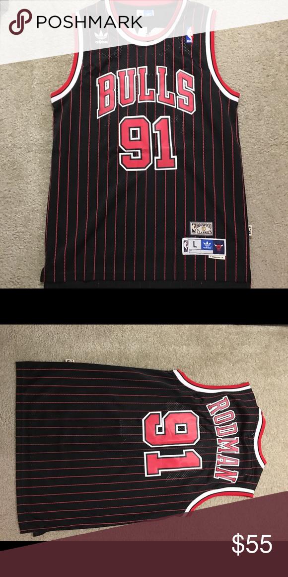 a8fa0359a4e Dennis Rodman Chicago Bulls pinstriped Jersey New Adidas hardwood classic  Dennis Rodman Chicago Bulls Jersey. No stains or flaws. Letters all  stitched.
