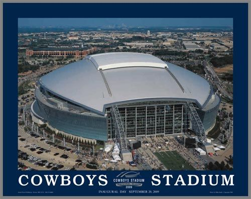 Dallas Cowboys Wood Mounted Poster Print New Cowboys Stadium Aerial Med Cowboys Stadium Sports Stadium Nfl Stadiums