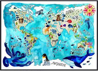 Great Weltkarte von Frau Ottilie weltkarte tiere kinderzimmer landkarte
