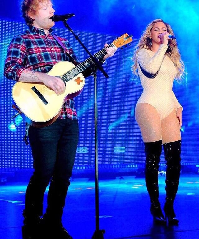 """Beyonce performing """" Drunk in Love"""" with Ed Sheeran at the Global Citizen Festival in NYC  september 2015"""