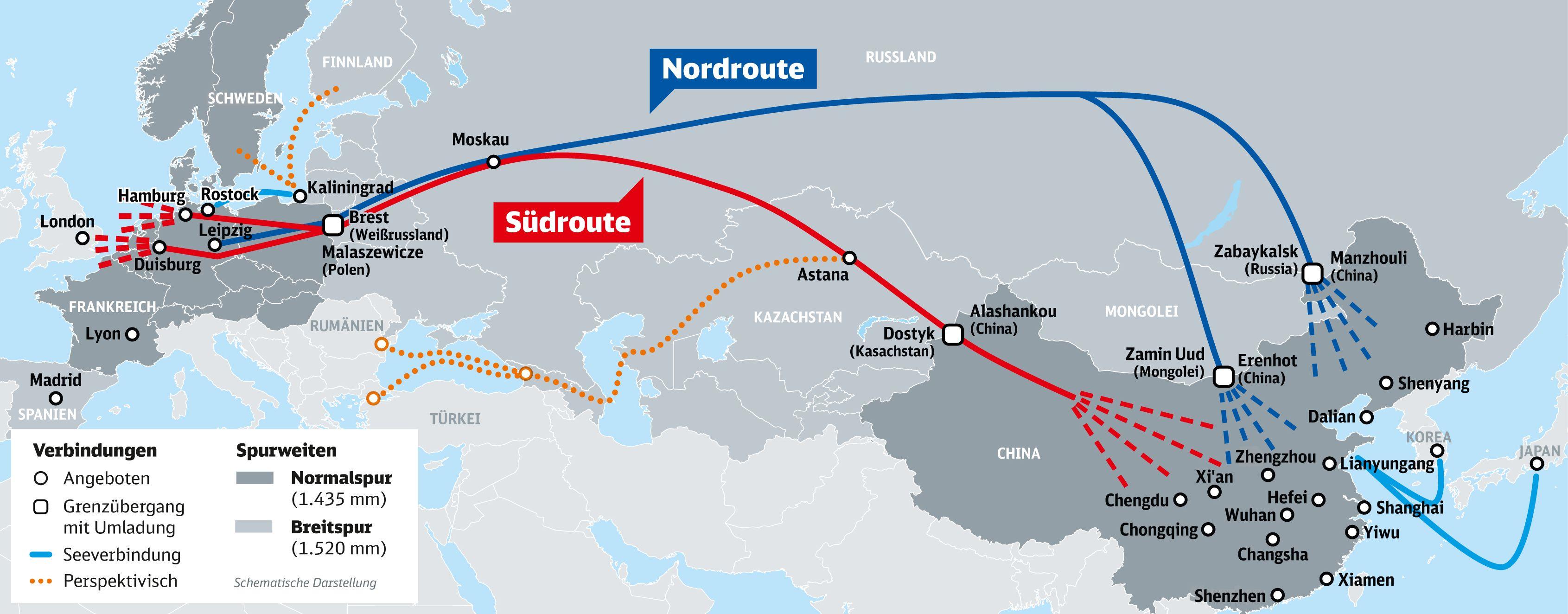 Karte China Verkehre Duisburg Finnland Frankreich