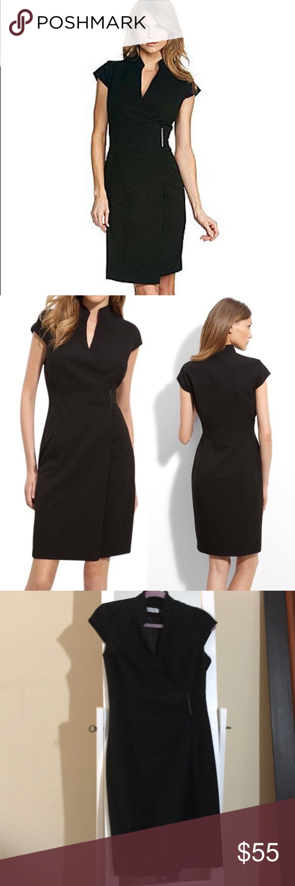 ff2a79508 Calvin Klein Wrap Cap sleeve Crepe Pencil Dress Calvin Klein Wrap Cap  sleeve Crepe Pencil Dress