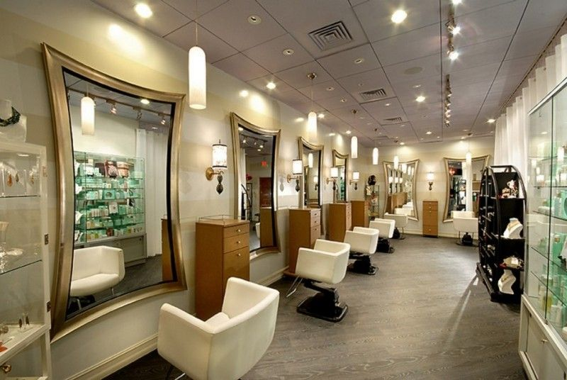 decorations fabulous mirrors for modern hair salon design using luxury decor with white leather swivel