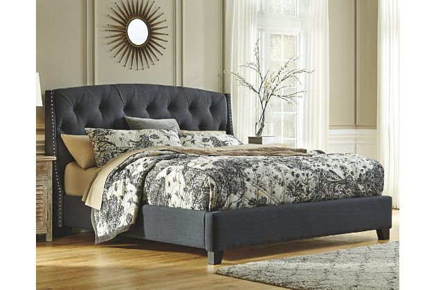 Kasidon Queen Tufted Bed King Upholstered Bed Grey Upholstered
