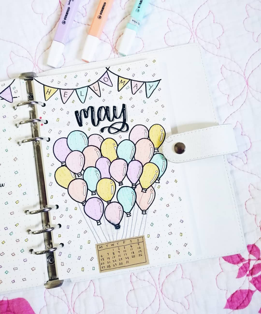 """misha on Instagram: """"So here it is the may coverpage full of balloons 🎈 one of the balloons smeared 😭 . . . . . . . . . . #bulletjournal #bulletjournalspread…"""""""