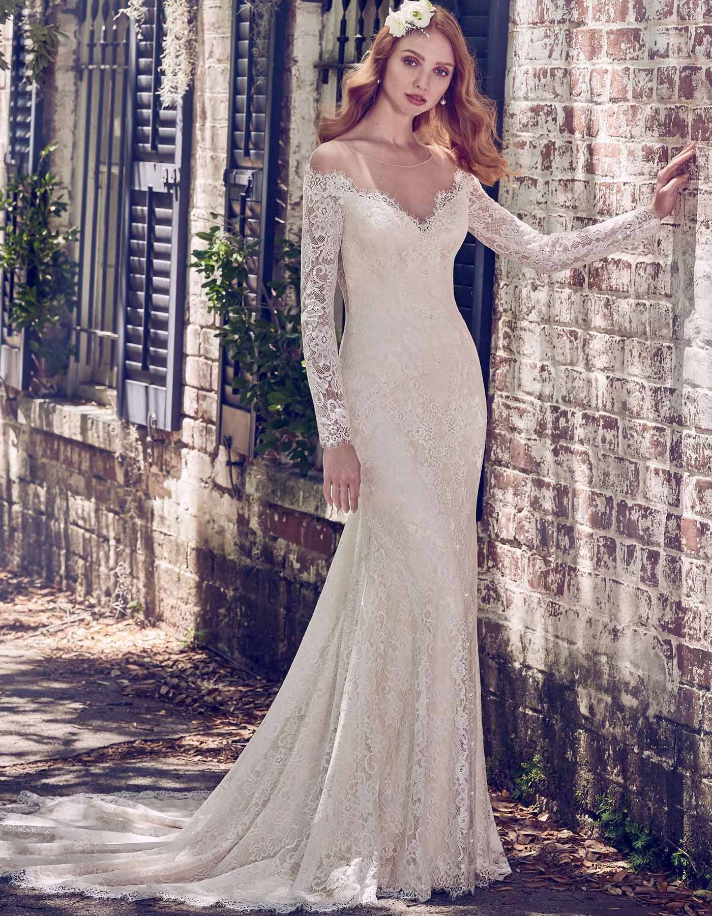 892487806fc MEGAN by MAGGIE SOTTERO - Sheer lace comprises the illusion off-the-shoulder  neckline