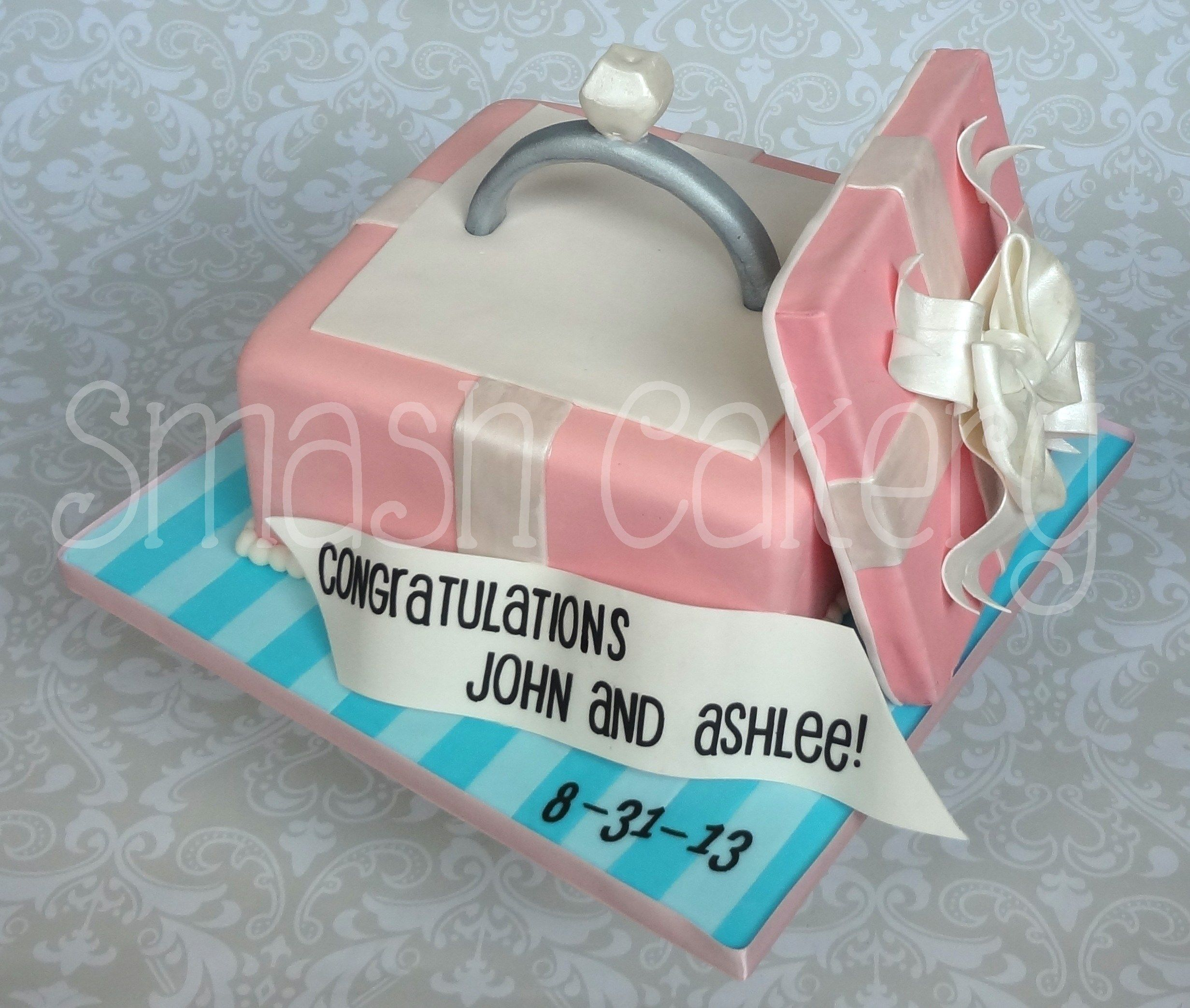All fondant engagement ring box cake, with edible diamond ring. All ...