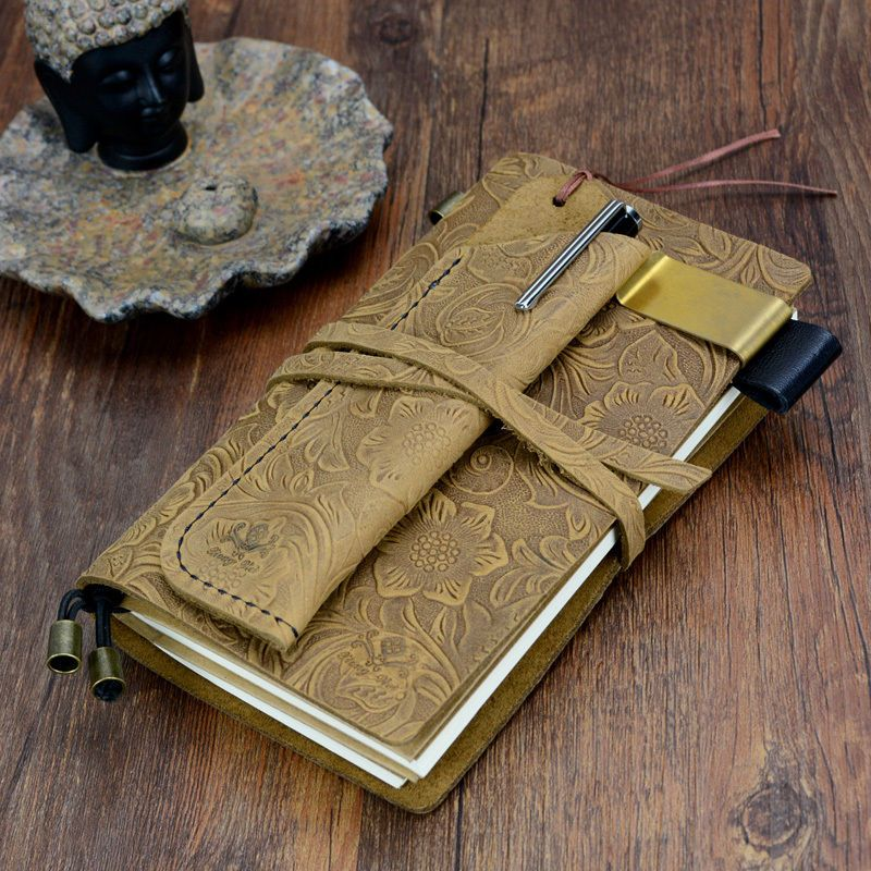 Vintage Leather Engraved Notebook Blank Travel Journal Pocket Diary with strap #Engravedleatherjournal