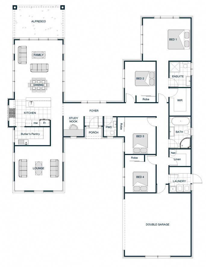 Floor Plan Friday H Shaped Smart Home With Two Separate And Distinct Wings There Are A Few Variations Home Design Floor Plans Floor Plan Design House Plans