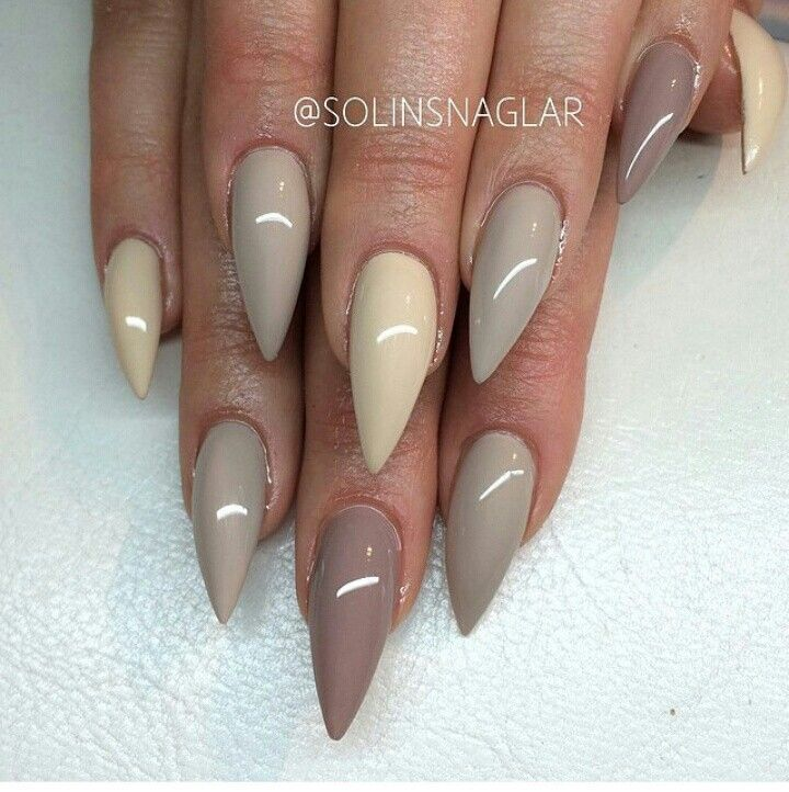 Nails long stilleto beige grey   nails   Pinterest   Neutral nails ...
