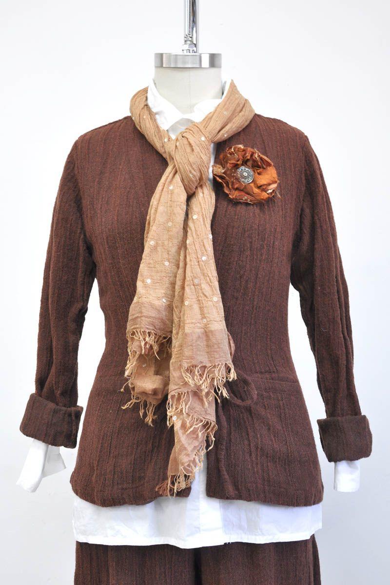 Manhattan Jacket - Viscose Wool Metal Twill, Terracotta