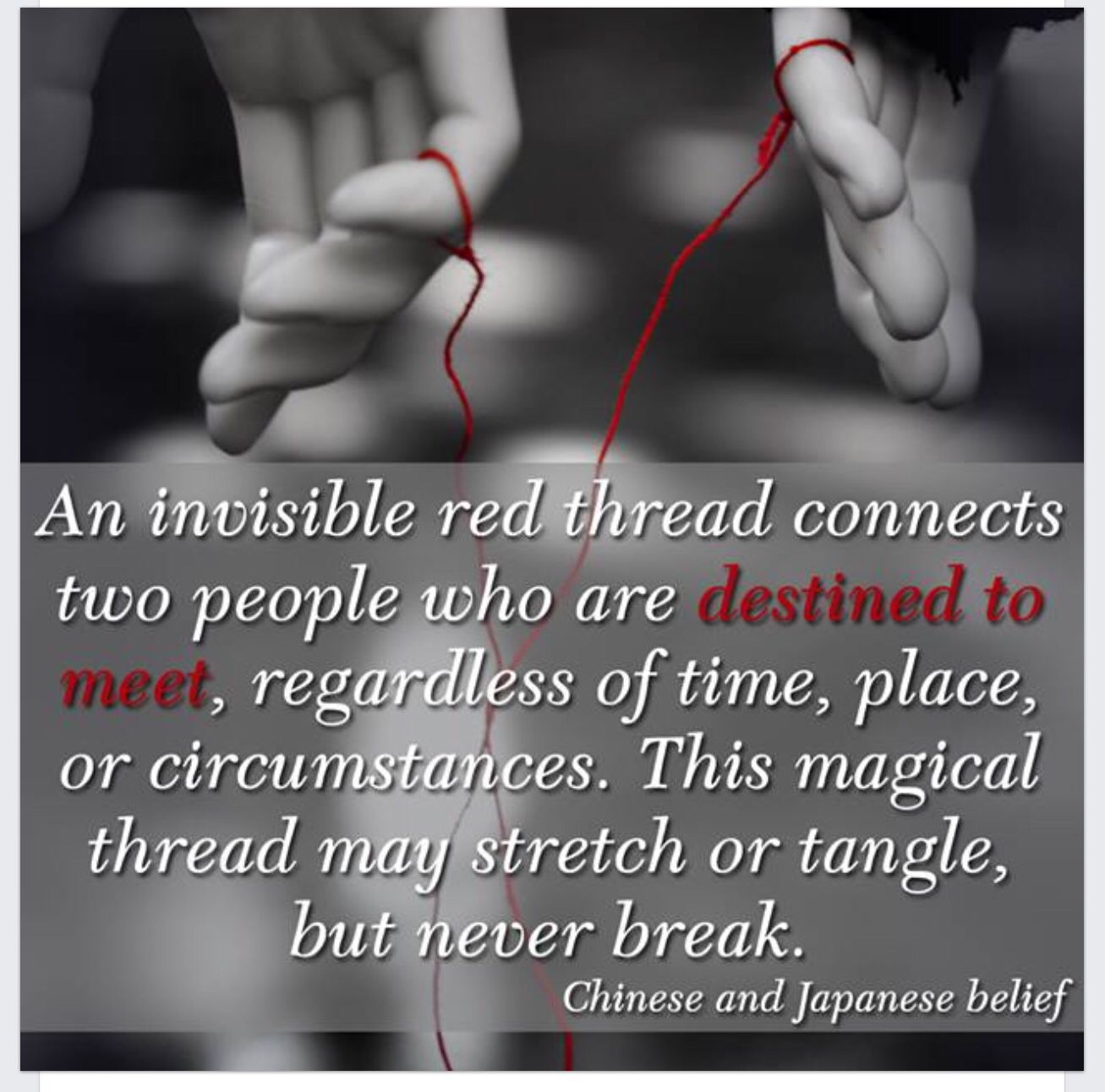 The magic, invisible thread connected those who are destined to meet