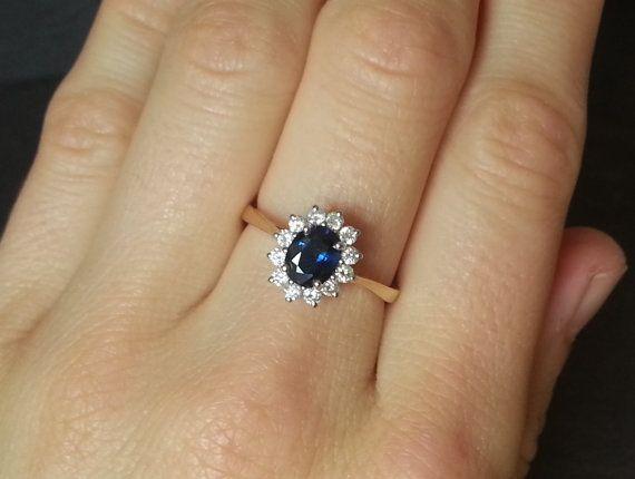 Kate Middleton Style Blue Sapphire Diamond Ring Princess Diana
