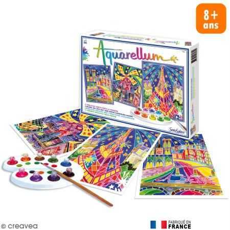 Cofre Lamina Para Pintar Aquarellum Paris By Night X 3