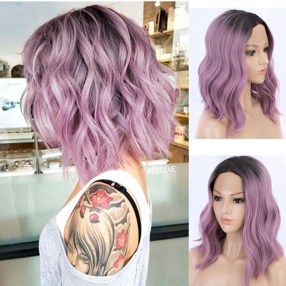 One Size. Blonde /& Pastel Pink Synthetic Bob Wig Unisex Heat Resistance