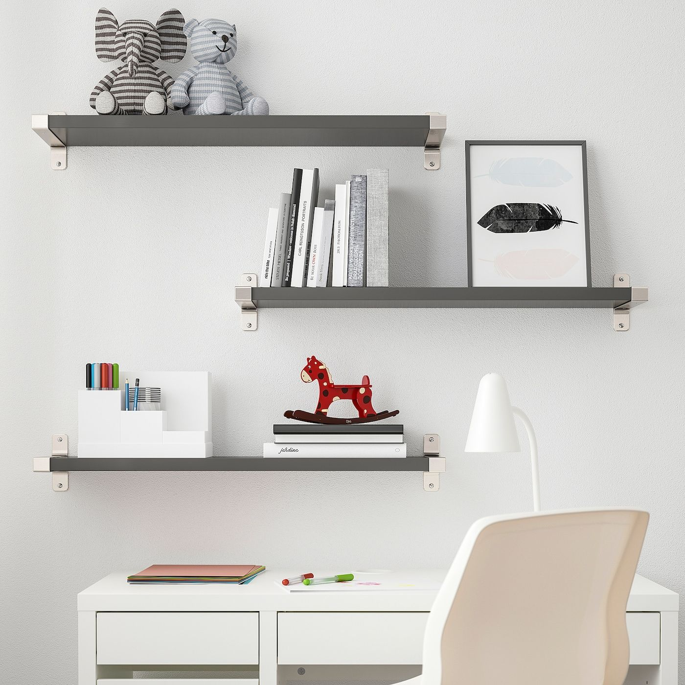 Wall To Wall Shelves bergshult / granhult wall shelf combination - dark gray