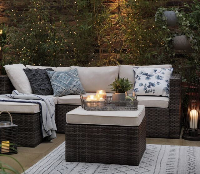 Small Garden With Rattan Effect Sofa