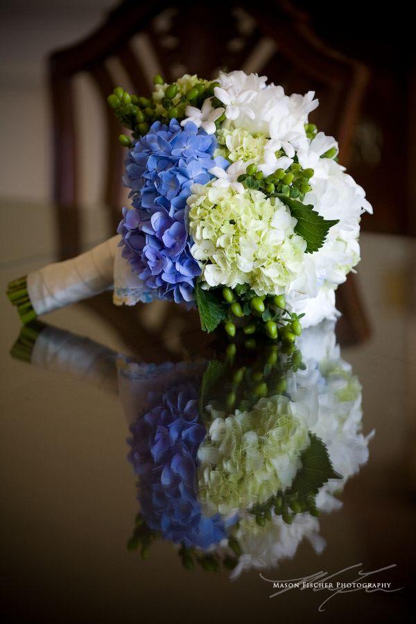 bridal bouquet - blue, green and white hydrangeas, hypericum ...