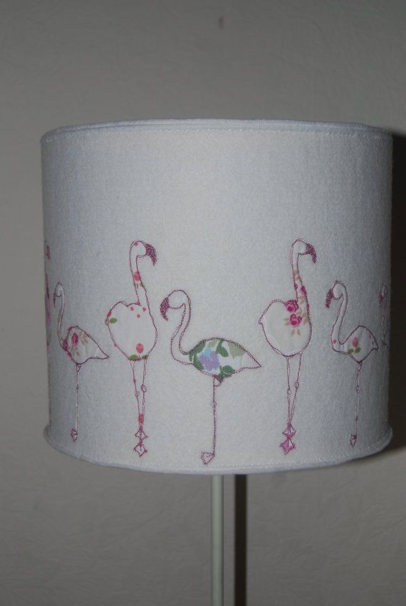 Embroidered Flamingo Lampshade by MelodyRyder