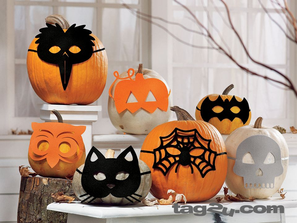 cute halloween masquerade felt mask assortment perfect decoration for people and pumpkins - Cute Halloween Decor