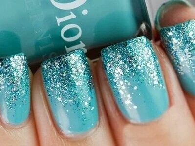 Aqua Nails Tiffany Nails Sparkly Nails Teal Nails