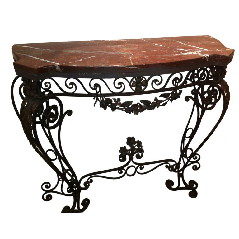 1930s Wrought Iron Console Table Iron Console Table Wrought