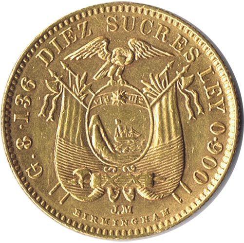 Moneda De Oro 10 Sucres Ecuador 1900 Antonio Jose Monedas De Oro Monedas Monedas De Plata
