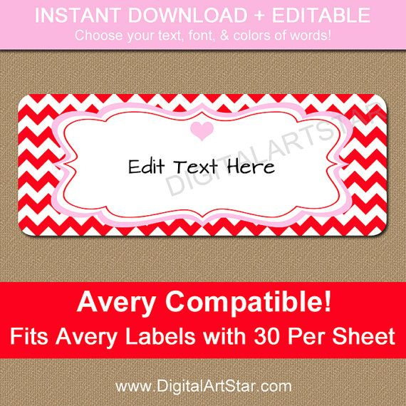 Editable Valentines Day Address Labels  Printable Valentine