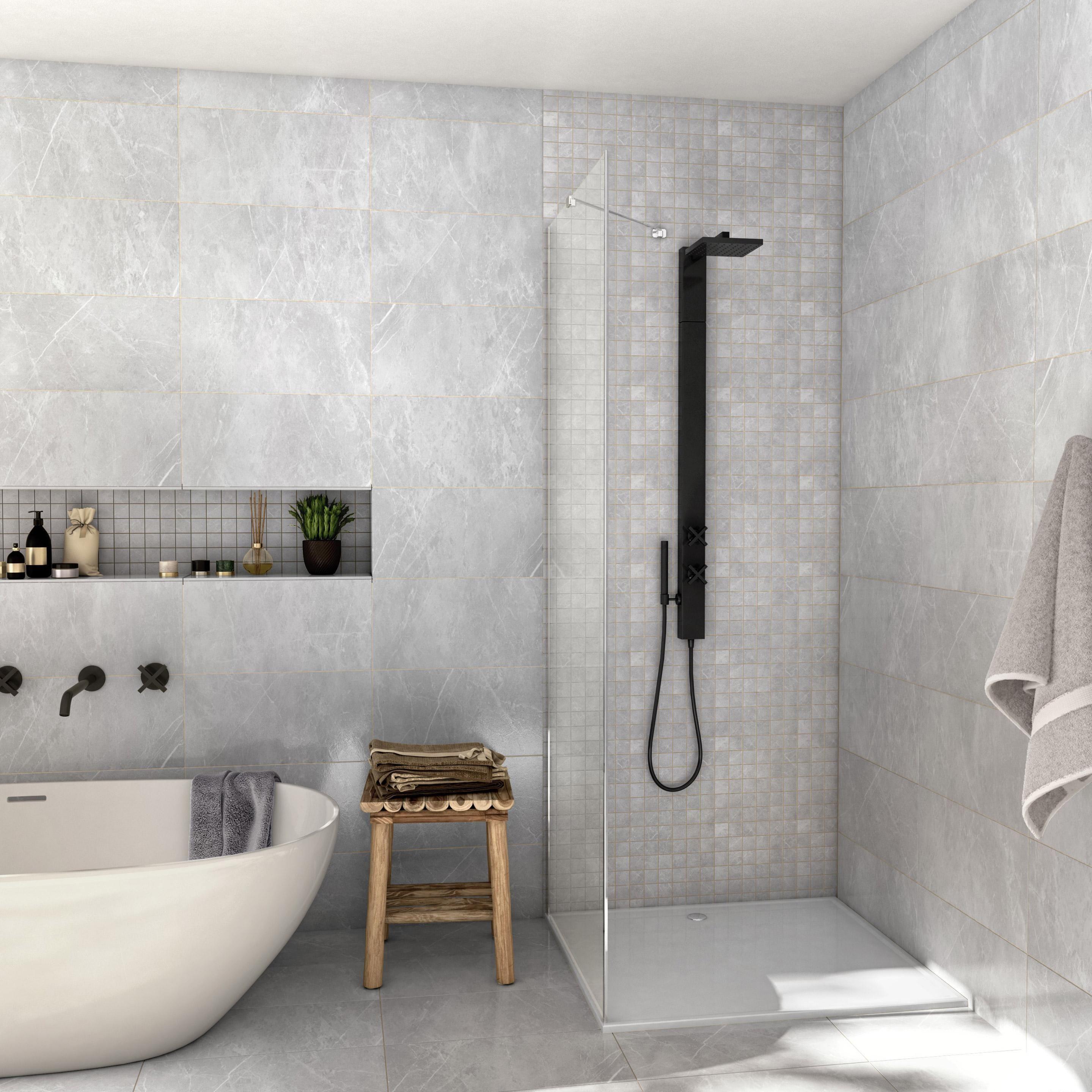 Carrelage Salle De Bain Gris Clair carrelage mur et sol marbre gris mat l.30 x l.60 cm, rialto