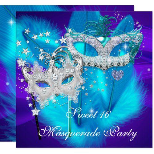 Masquerade Sweet 16 Purple Teal Blue Mask Invitation | Zazzle.com