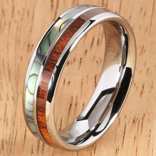 Koa Wood Abalone Tungsten Two Tone Wedding Ring Half Wood Shell