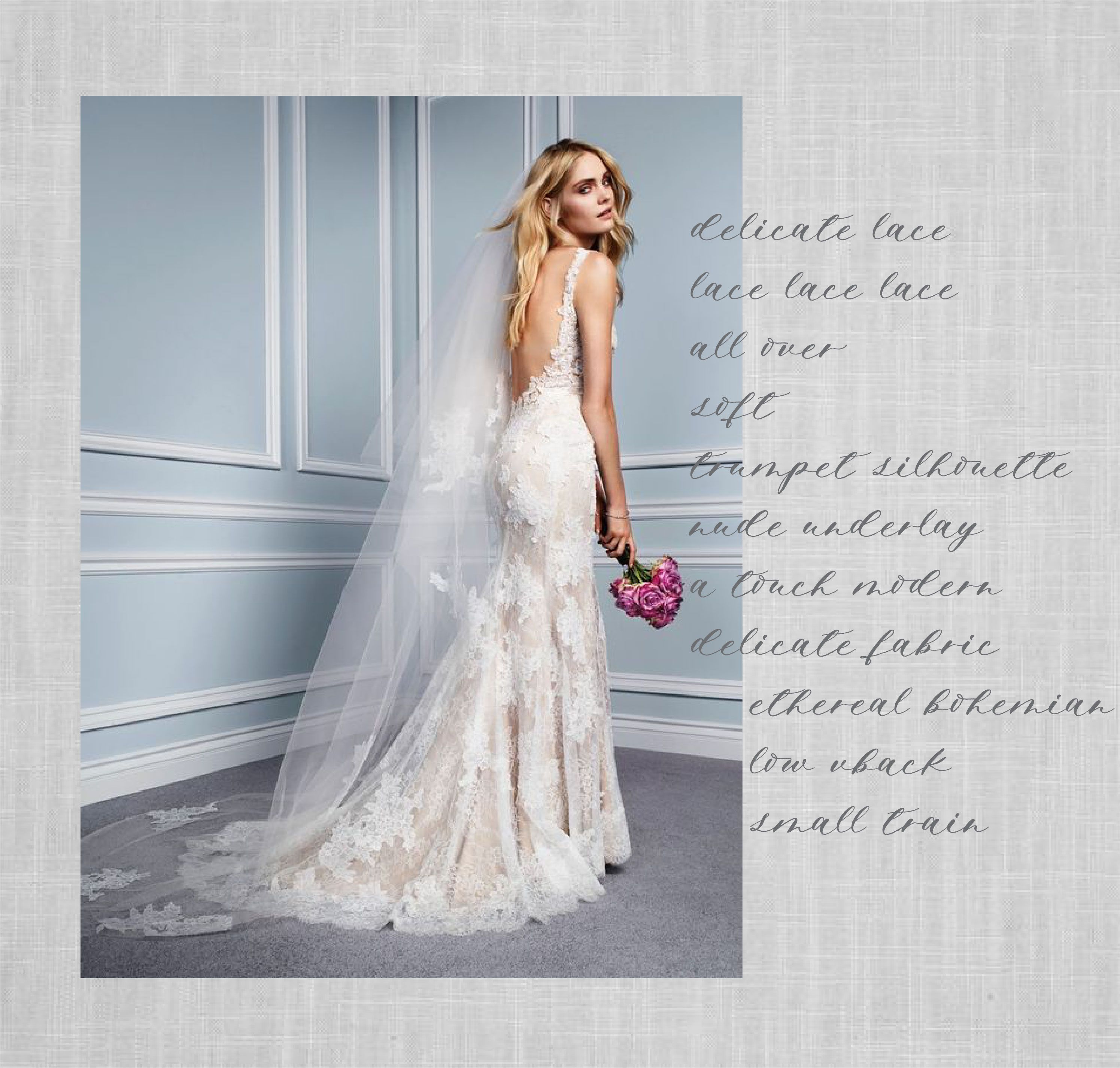 Calla gown by Monique Lhuillier. A full delicate lace gown with a ...