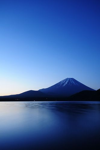 Mt.FUJI Blue Moment, Japan Imagine you and yours taking a early morning boat ride with this in the background. Beautiful! 800 7Classy or www.GoClassy.com #Blue #Moment #mtfuji #ブルーモーメント #富士山