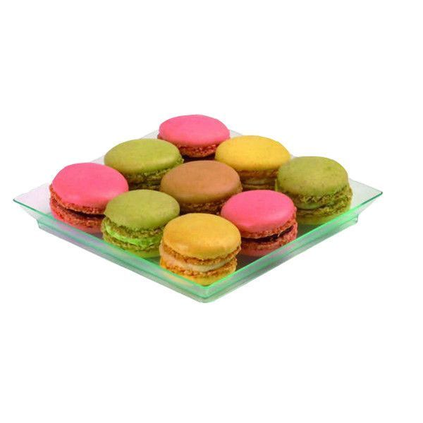 5 x 5 Square Transparent Green Dishes/Case of 100