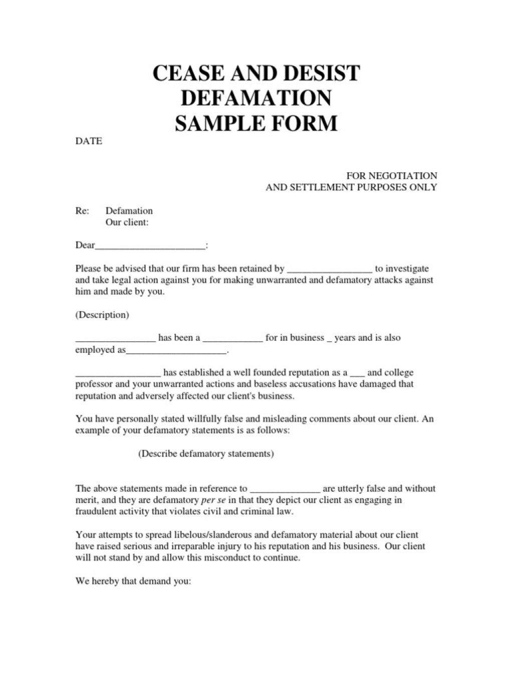 The extraordinary 008 Cease And Desist Letter Template