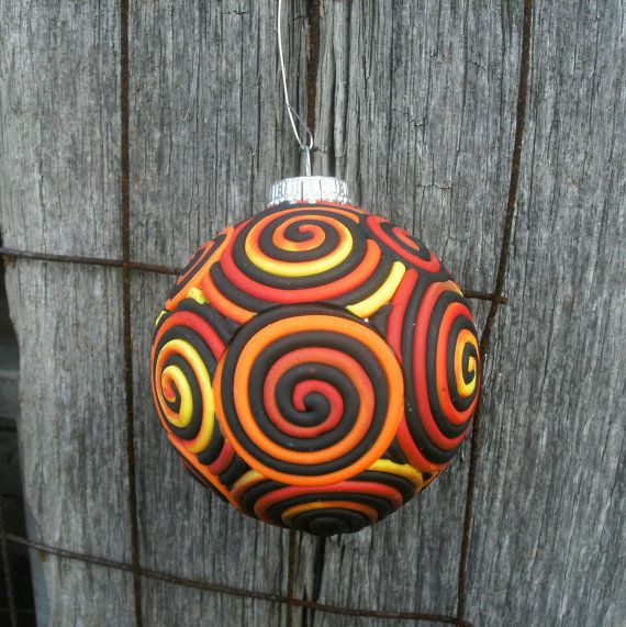 Flame Holiday Ornament in Orange Yellow Black Red polymer clay filigree