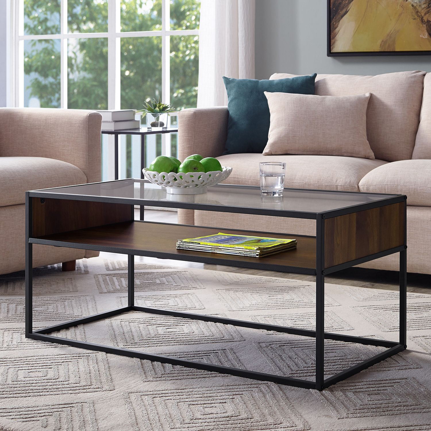 "Glass And Metal Coffee Table With Shelf: 40"" Dark Walnut Metal & Glass Coffee Table With Open Shelf"