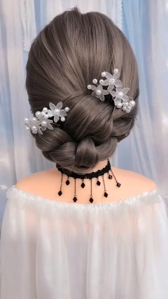 Hermoso peinado de boda – Tutorial de moño suave en la espalda #hair #bun #hairstyle
