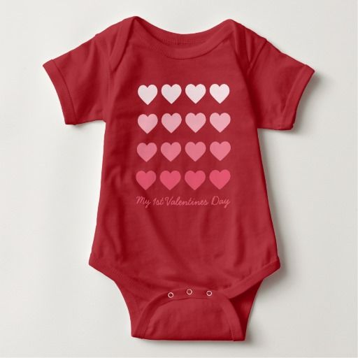 Pink Ombre Hearts Valentines Day Baby Bodysuit