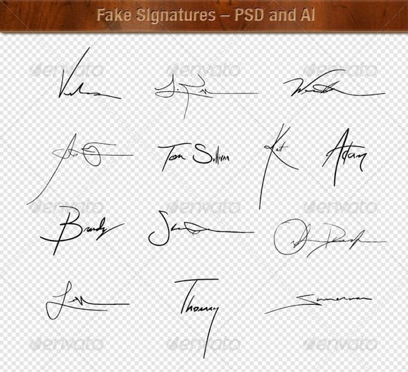 Fake Vector And Raster Signatures Fancy Handwriting Vector Graphics Design Raster