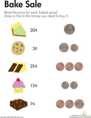 Grade 1 Counting money Worksheet on pennies and dimes | Math ...