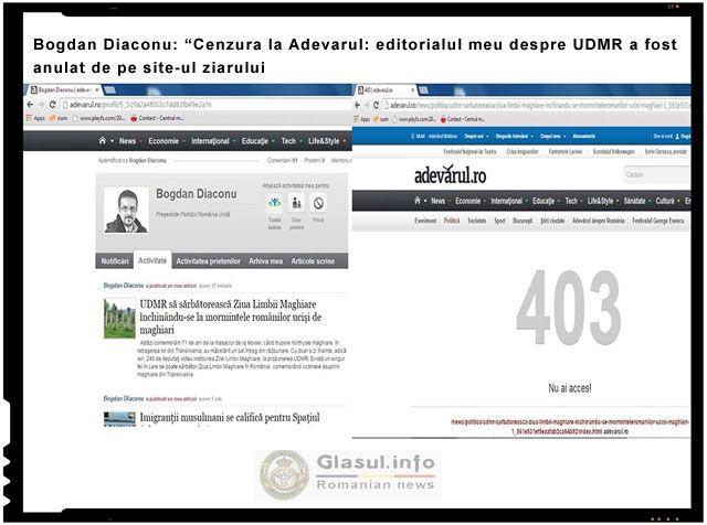 """Bogdan Diaconu: """"Cenzura la Adevarul: editorialul meu despre UDMR a fost anulat de pe site-ul ziarului"""""""