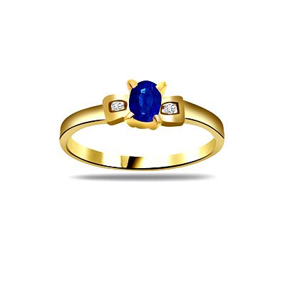Diamond Pcs :2 pcs     Diamond Wt :0.06 cts     Diamond Colour :I / J     Diamond Clarity :VS      Oval Sapphire pcs :1 pc     Oval Sapphire Wt :0.50 cts     Gold Wt :2.000 gms     Gold Purity :18kt.     Ring Size :13     (Resizing will be done as per your requirement free of cost)     Code Number :SDR-1184