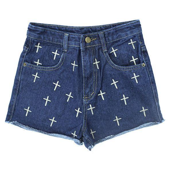 NAVY CROSS PATTERN DENIM SHORTS ($35) ❤ liked on Polyvore featuring shorts, bottoms, pants, jean shorts, navy shorts, short jean shorts, print shorts and navy blue shorts