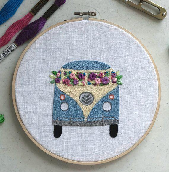 Kombi Van Pattern, Unique Pattern, Diy Patterns, Beginner Embroidery Pattern, Design Patterns, Cute Pattern, Pattern Pdf, Pattern Download