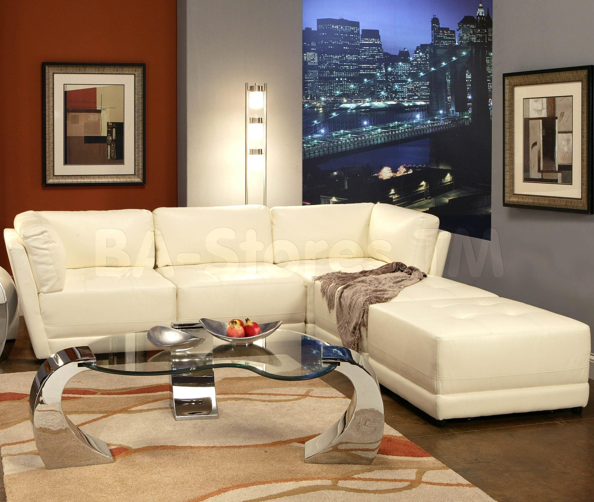 Kayson 5 Pcs Contemporary Leather Sectional Sofa Set In White